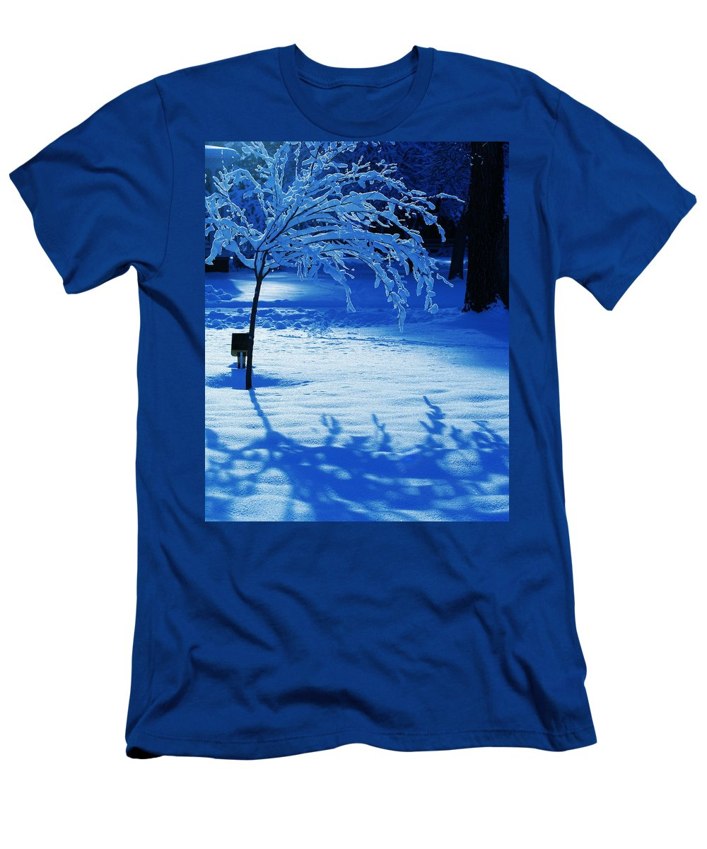 Snow Men's T-Shirt (Athletic Fit) featuring the photograph Snow Shadows by Ben Upham III