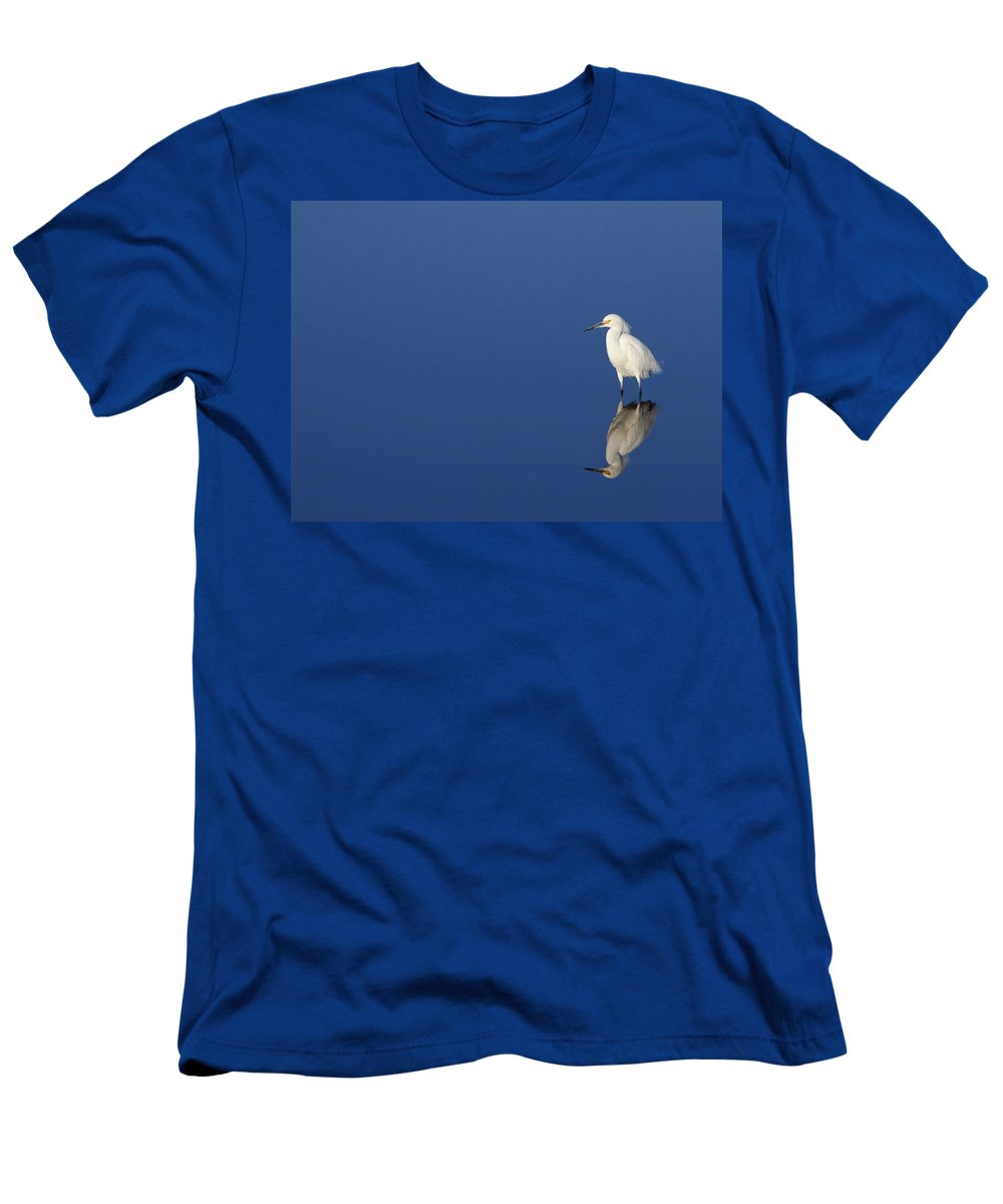 Egret Men's T-Shirt (Athletic Fit) featuring the photograph Snowy Egret Blues II by Bruce J Robinson