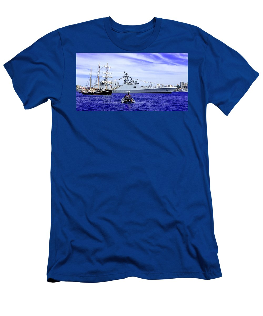 Southern Swan Men's T-Shirt (Athletic Fit) featuring the photograph Southern Swan Cruising By by Miroslava Jurcik