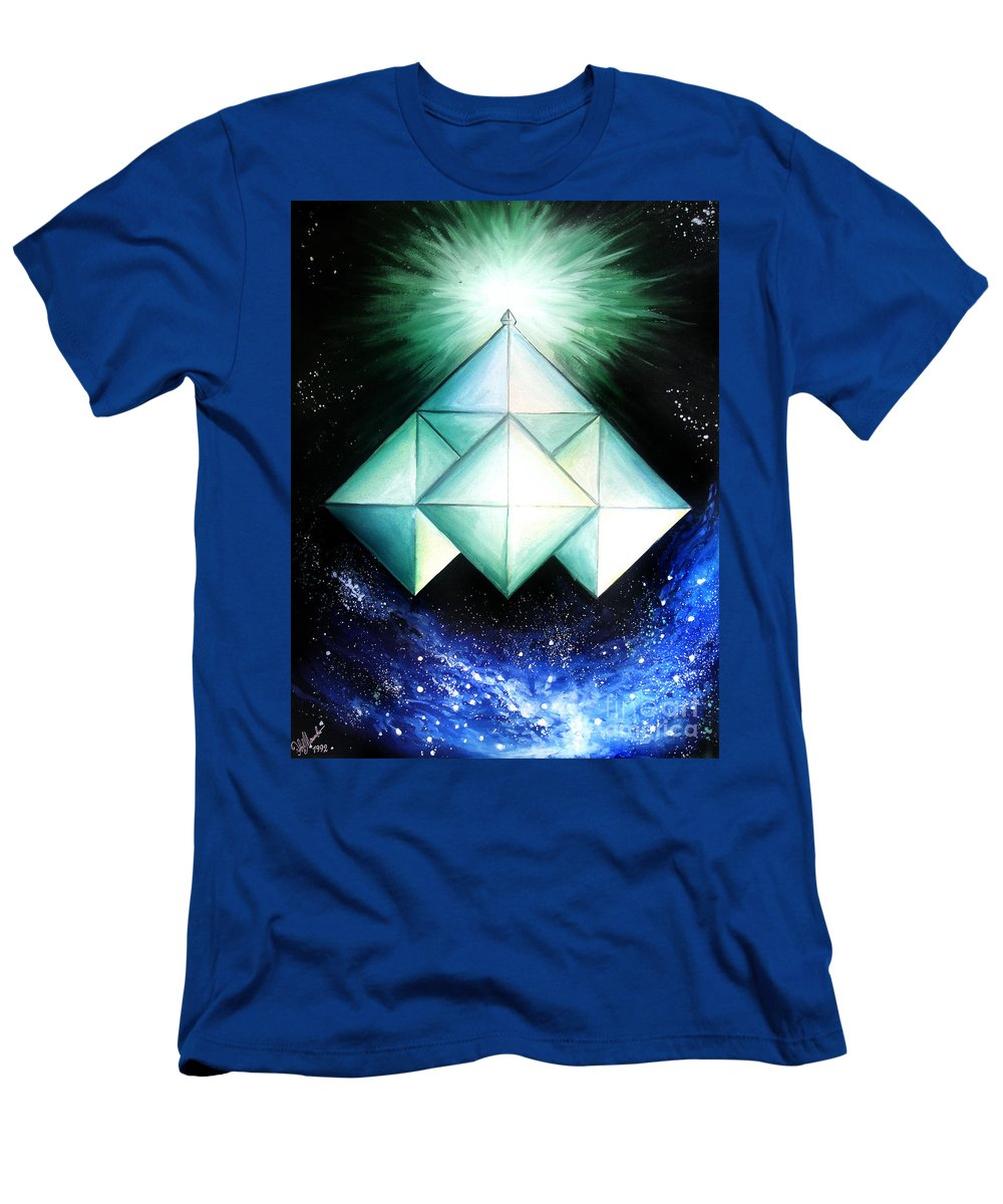 Gouache Men's T-Shirt (Athletic Fit) featuring the painting Space Shuttle Of Alien Civilization. High-speed by Sofia Metal Queen