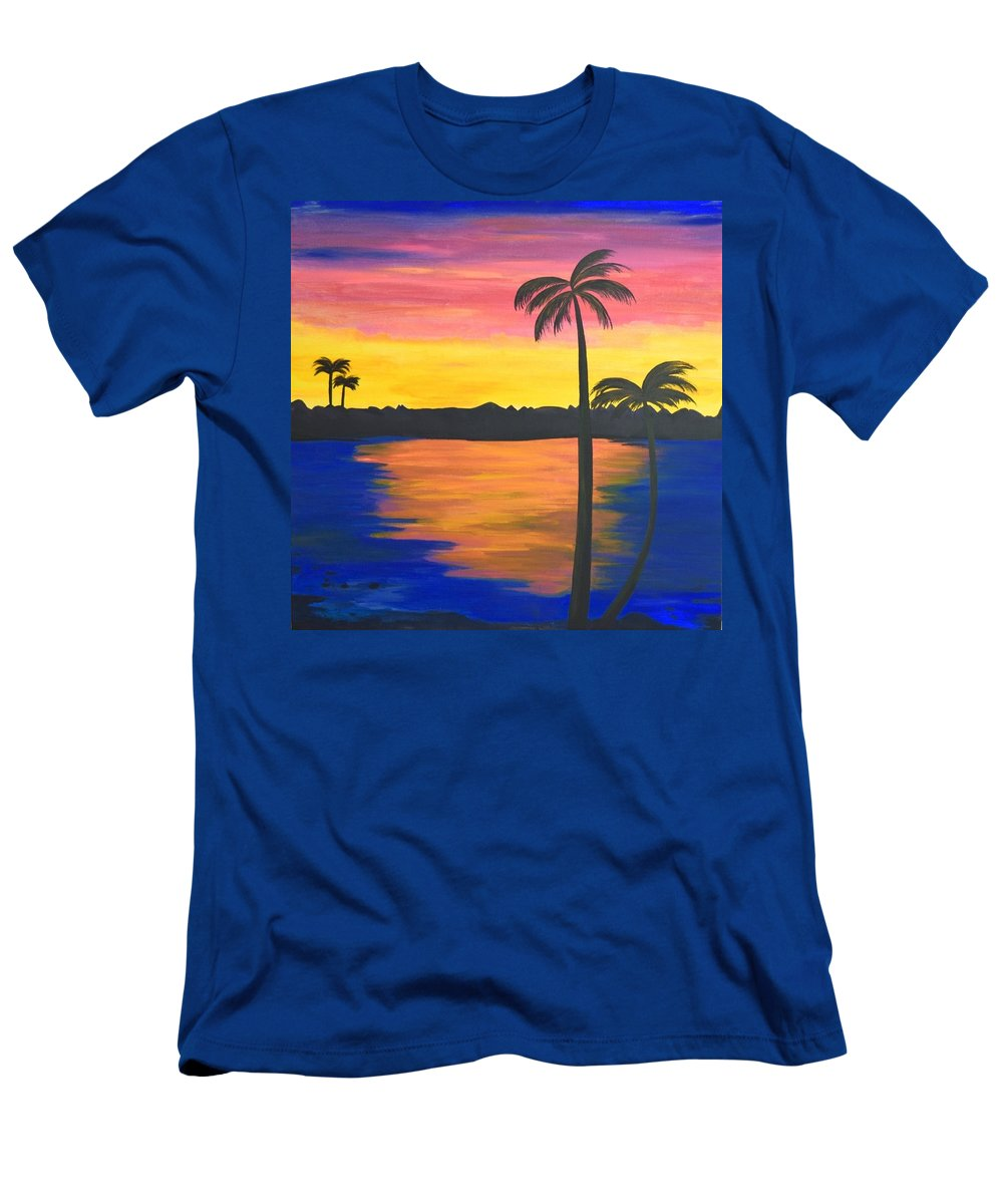 Palm Trees Men's T-Shirt (Athletic Fit) featuring the painting Splash Of Colors by Surbhi Grover