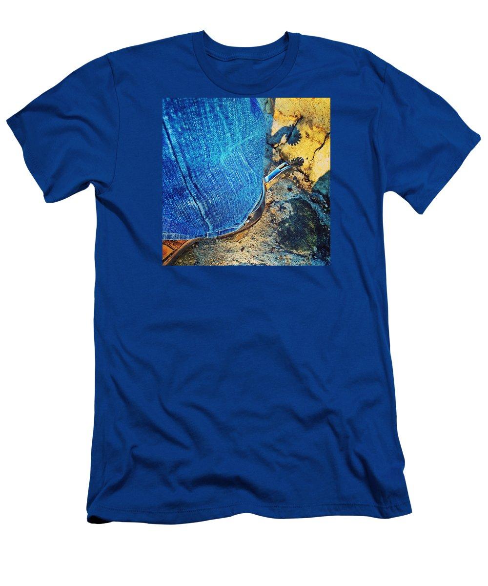 Western Men's T-Shirt (Athletic Fit) featuring the photograph Spur Shadow On Stone by JoJo Brown