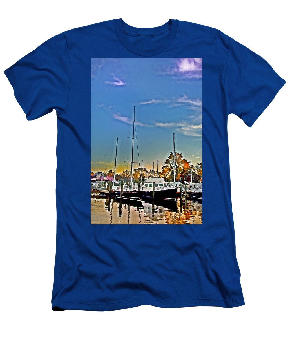 St. Michael's Men's T-Shirt (Athletic Fit) featuring the photograph St. Michael's Marina On The Chesapeake by Bill Cannon