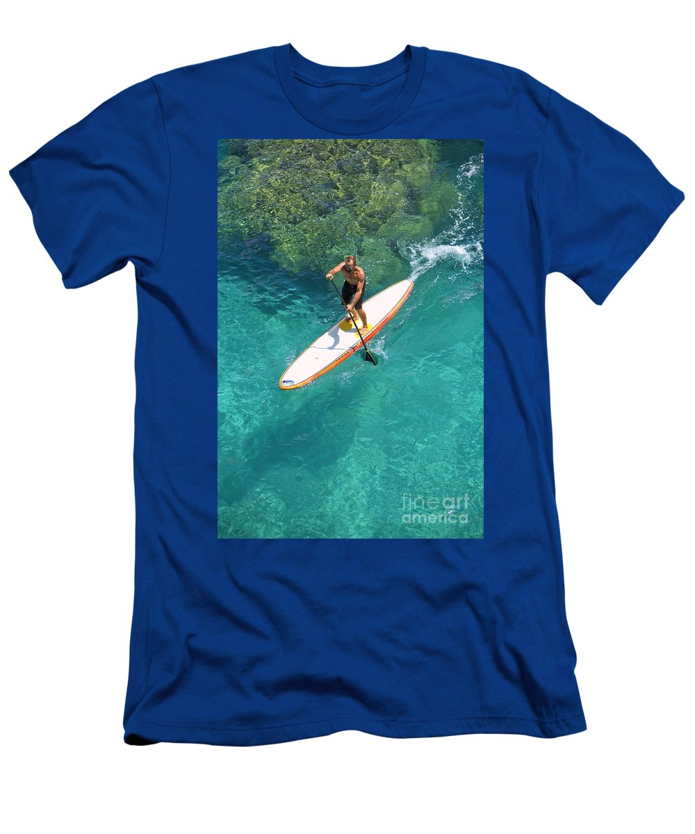 Adrenaline Men's T-Shirt (Athletic Fit) featuring the photograph Stand Up Paddling II by Ron Dahlquist - Printscapes
