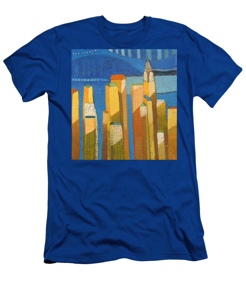 Abstract Cityscape Men's T-Shirt (Athletic Fit) featuring the painting Standing High by Habib Ayat