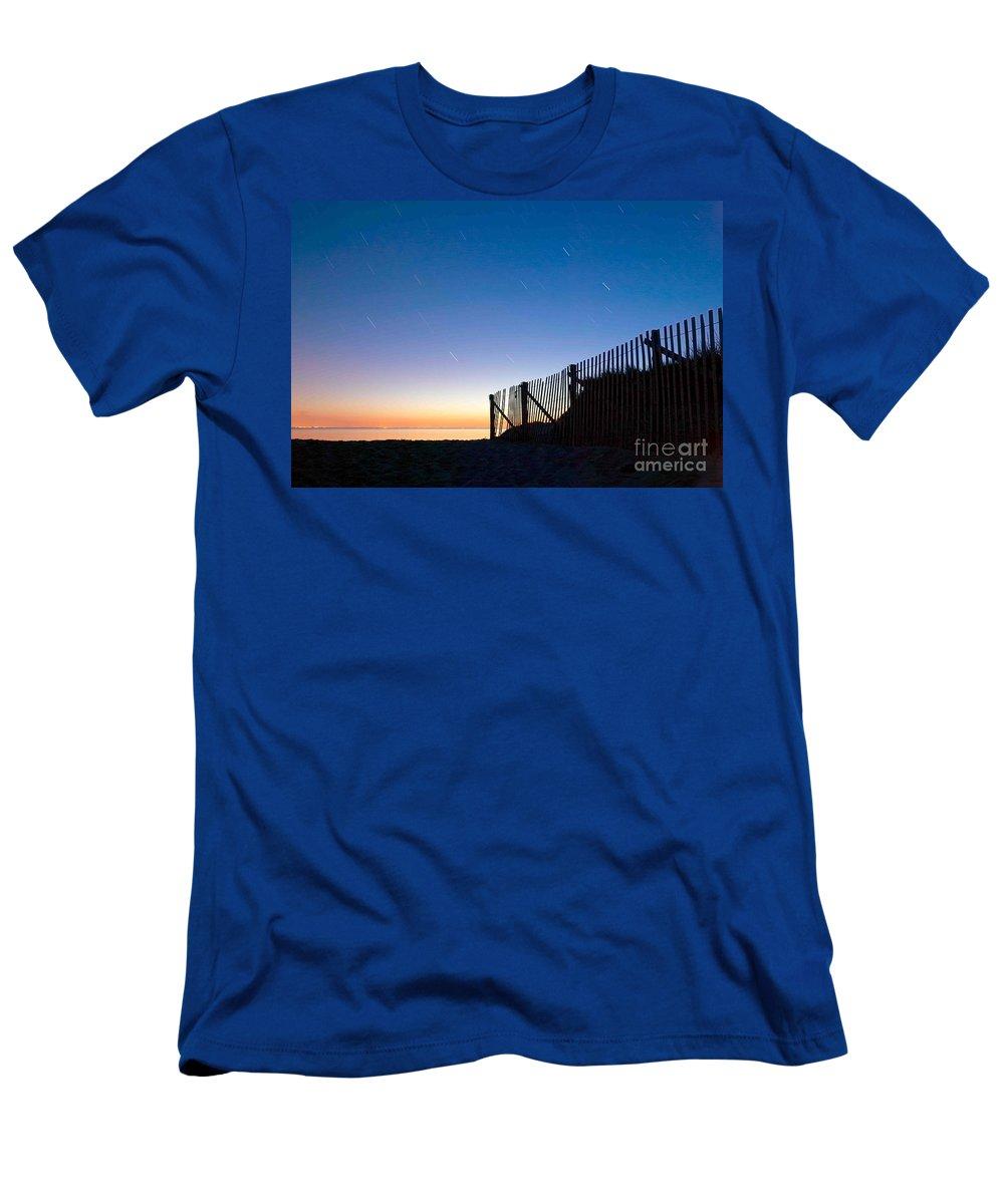 Wellfleet Men's T-Shirt (Athletic Fit) featuring the photograph Star Trails In Wellfleet Cape Cod by Matt Suess