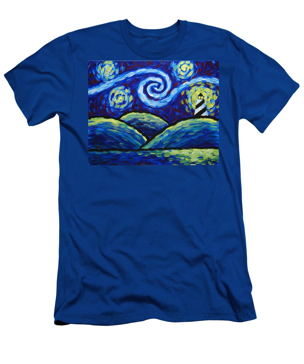 Lighthouse Men's T-Shirt (Athletic Fit) featuring the painting Starry Night At Cape Hatteras by Emily Page