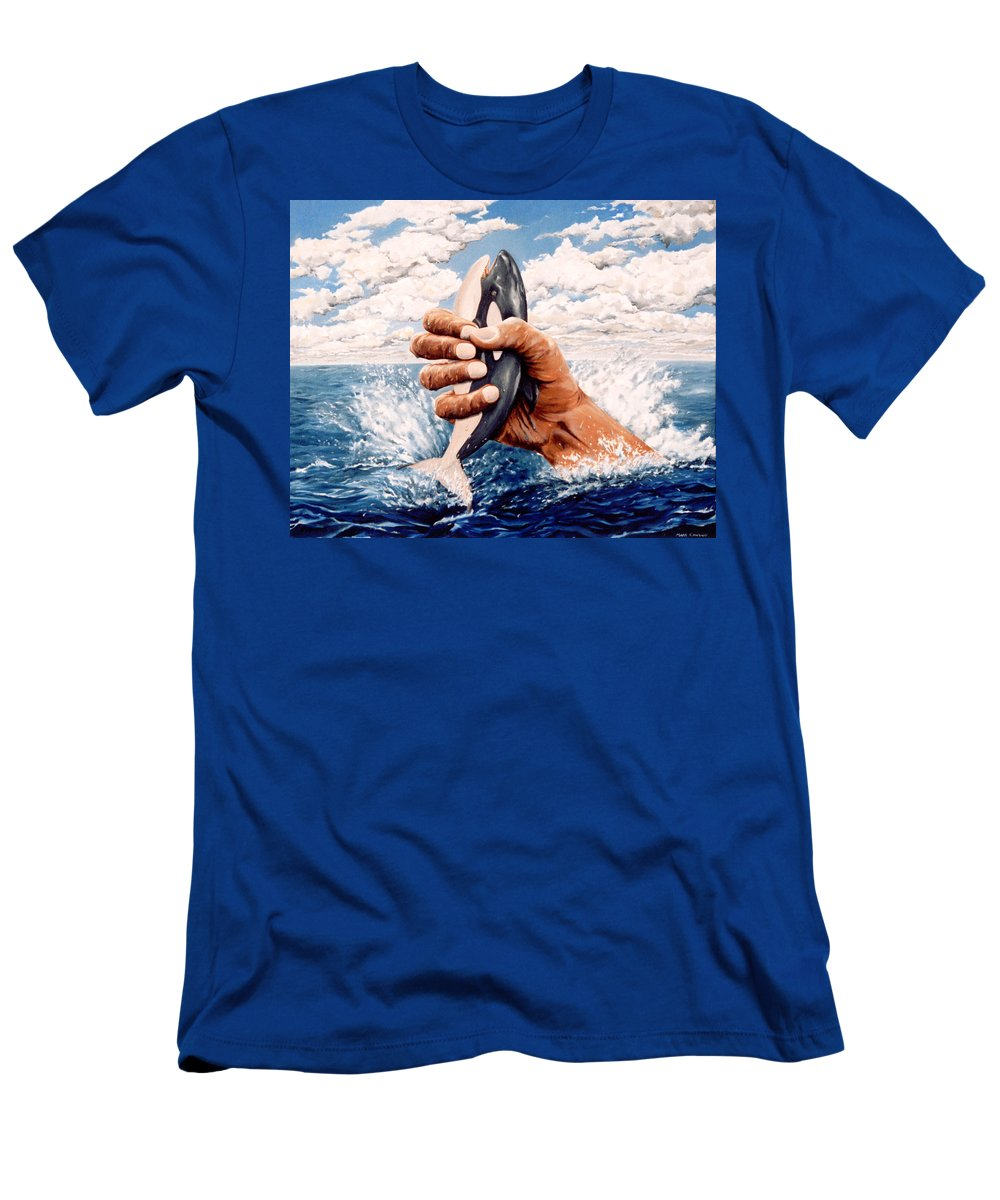 Surreal Men's T-Shirt (Athletic Fit) featuring the painting Stop Whaling by Mark Cawood