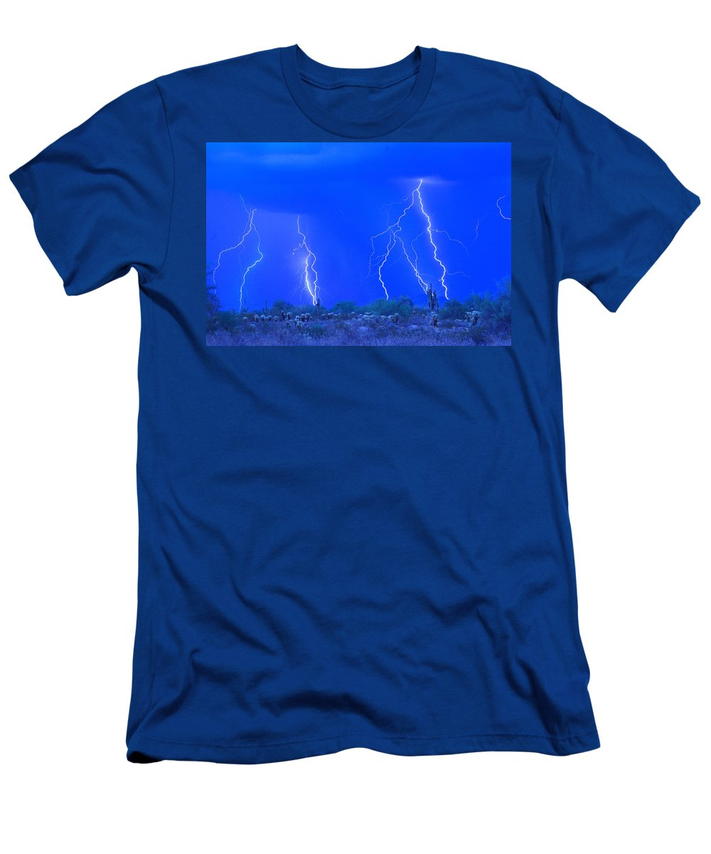 Lightning Men's T-Shirt (Athletic Fit) featuring the photograph Stormy Desert by James BO Insogna