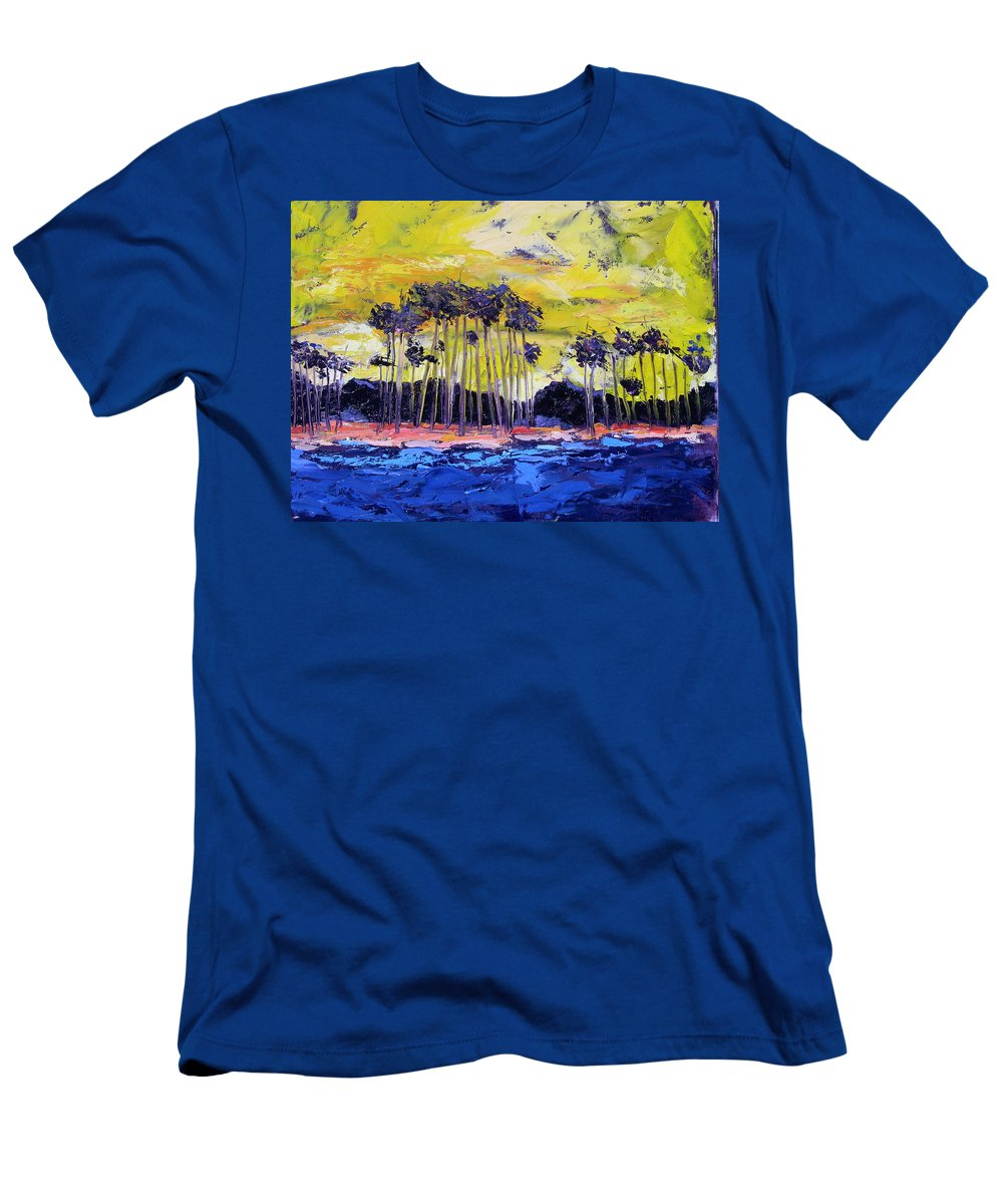 Water Men's T-Shirt (Athletic Fit) featuring the painting Stormy Shores by Patricia Caldwell