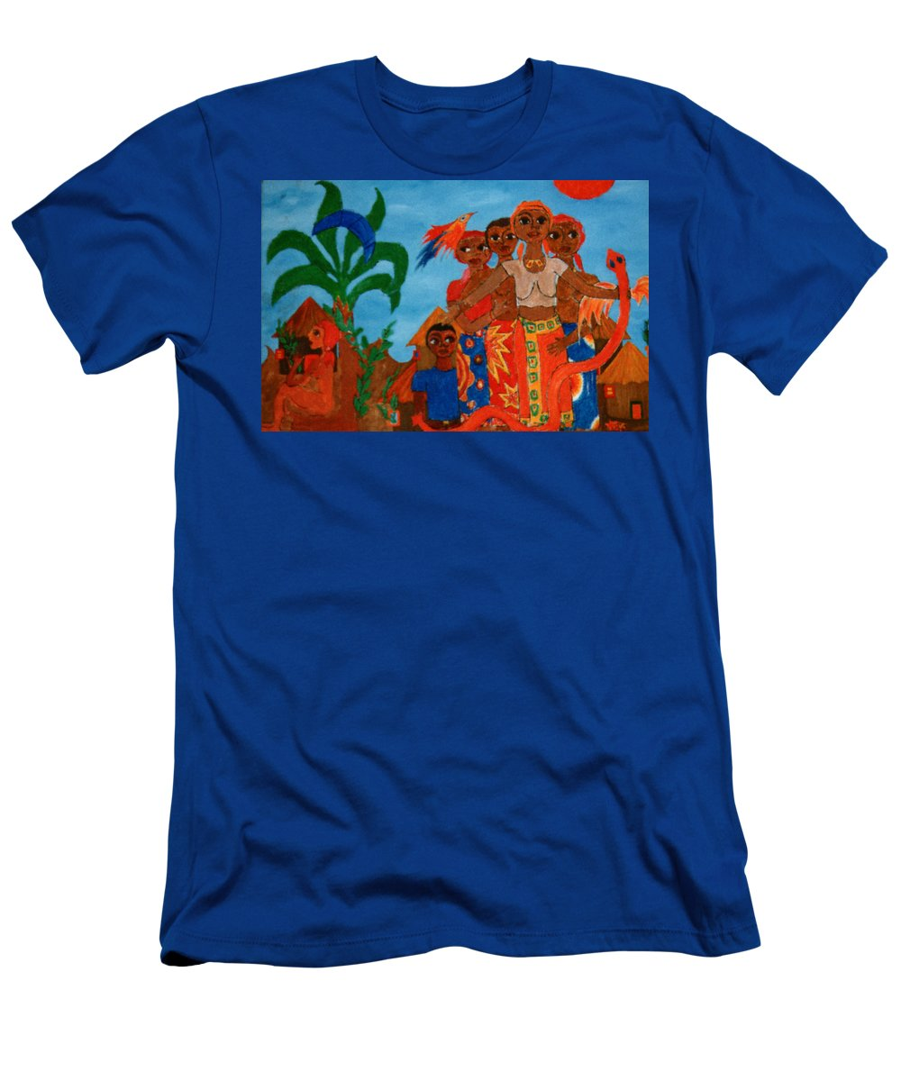 Study Men's T-Shirt (Athletic Fit) featuring the painting Study To Motherland A Place Of Exile by Madalena Lobao-Tello