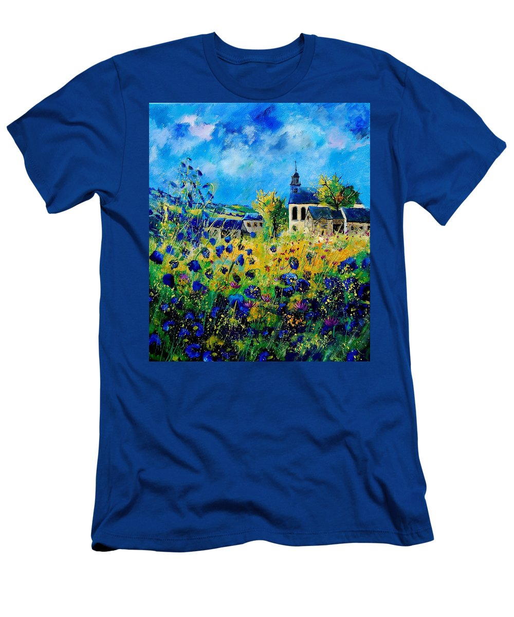 Poppies Men's T-Shirt (Athletic Fit) featuring the painting Summer In Foy Notre Dame by Pol Ledent