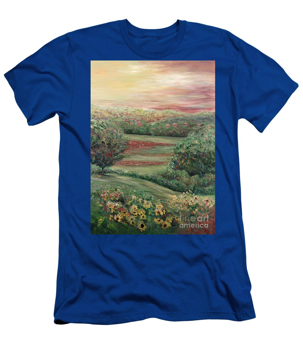 Landscape T-Shirt featuring the painting Summer in Tuscany by Nadine Rippelmeyer