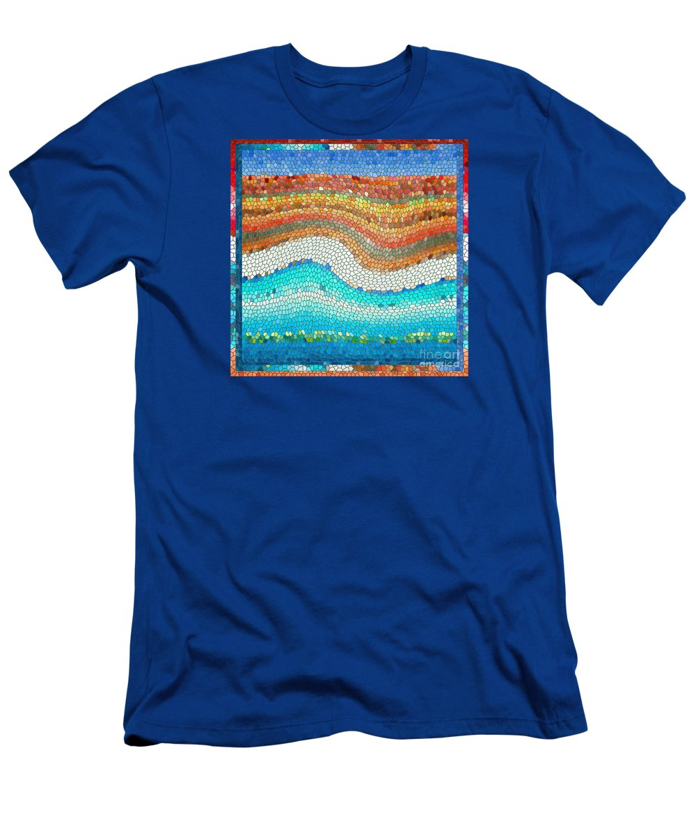 Colorful Men's T-Shirt (Athletic Fit) featuring the digital art Summer Mosaic by Melissa A Benson