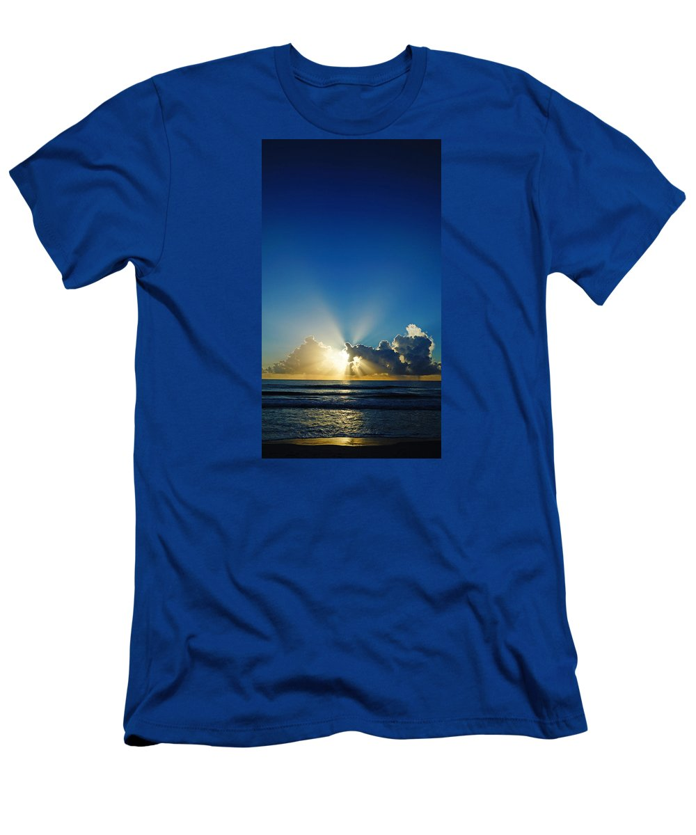 Sunrise Men's T-Shirt (Athletic Fit) featuring the photograph Sun Ray Sunrise by Lawrence S Richardson Jr