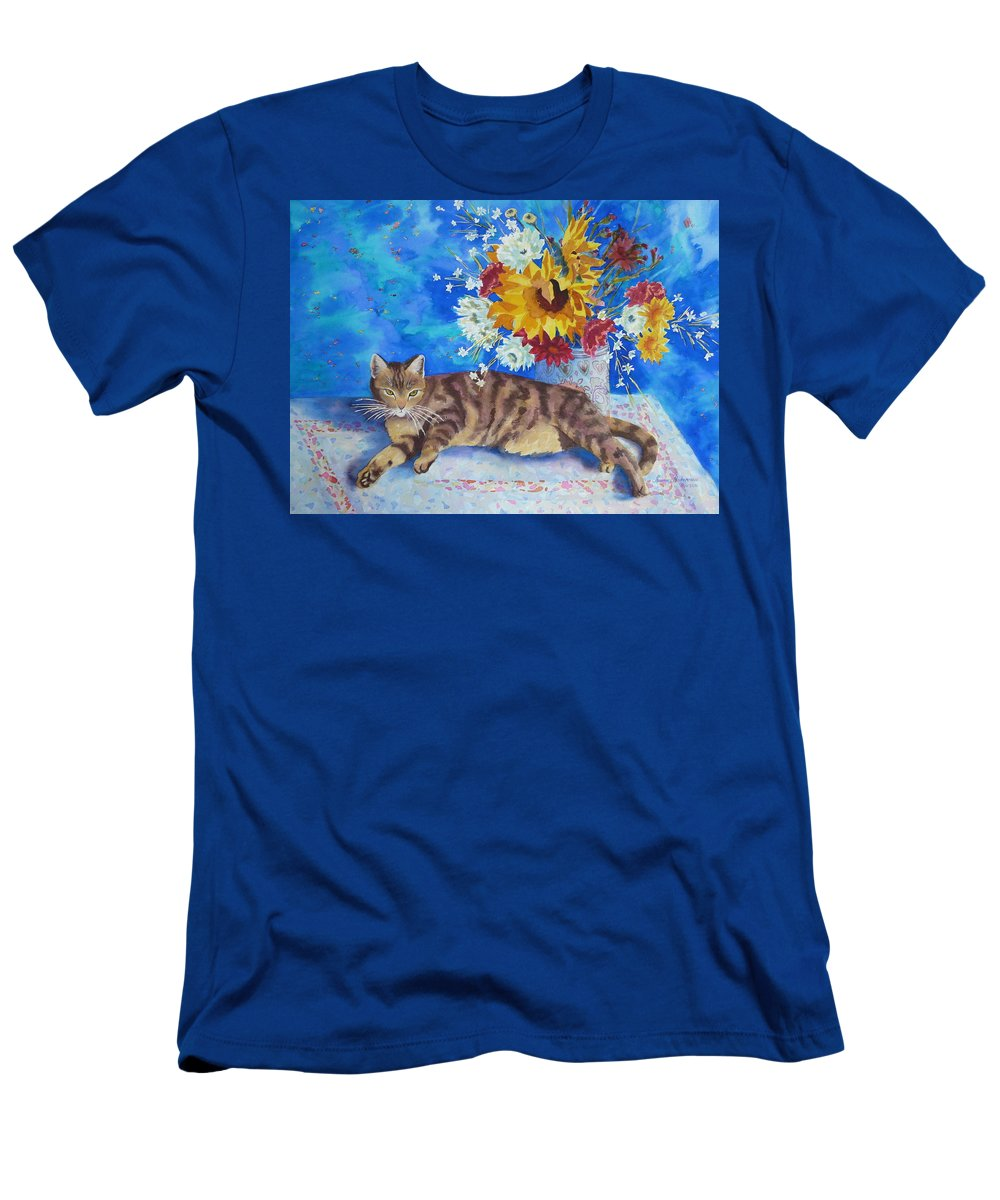 Flowers Men's T-Shirt (Athletic Fit) featuring the painting Sunflower Cat by Yvonne Ankerman