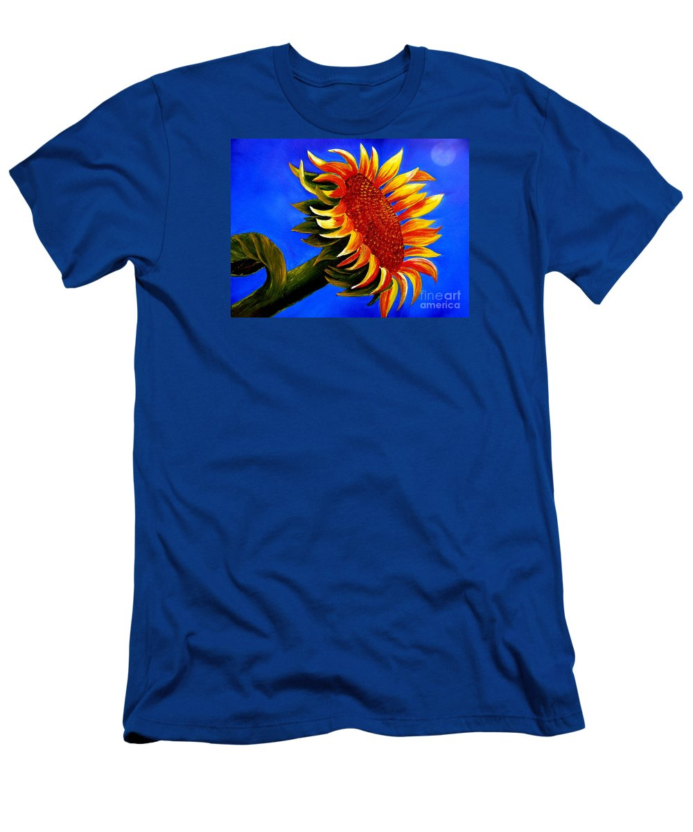 Sunflower Men's T-Shirt (Athletic Fit) featuring the painting Sunflower by Inna Montano