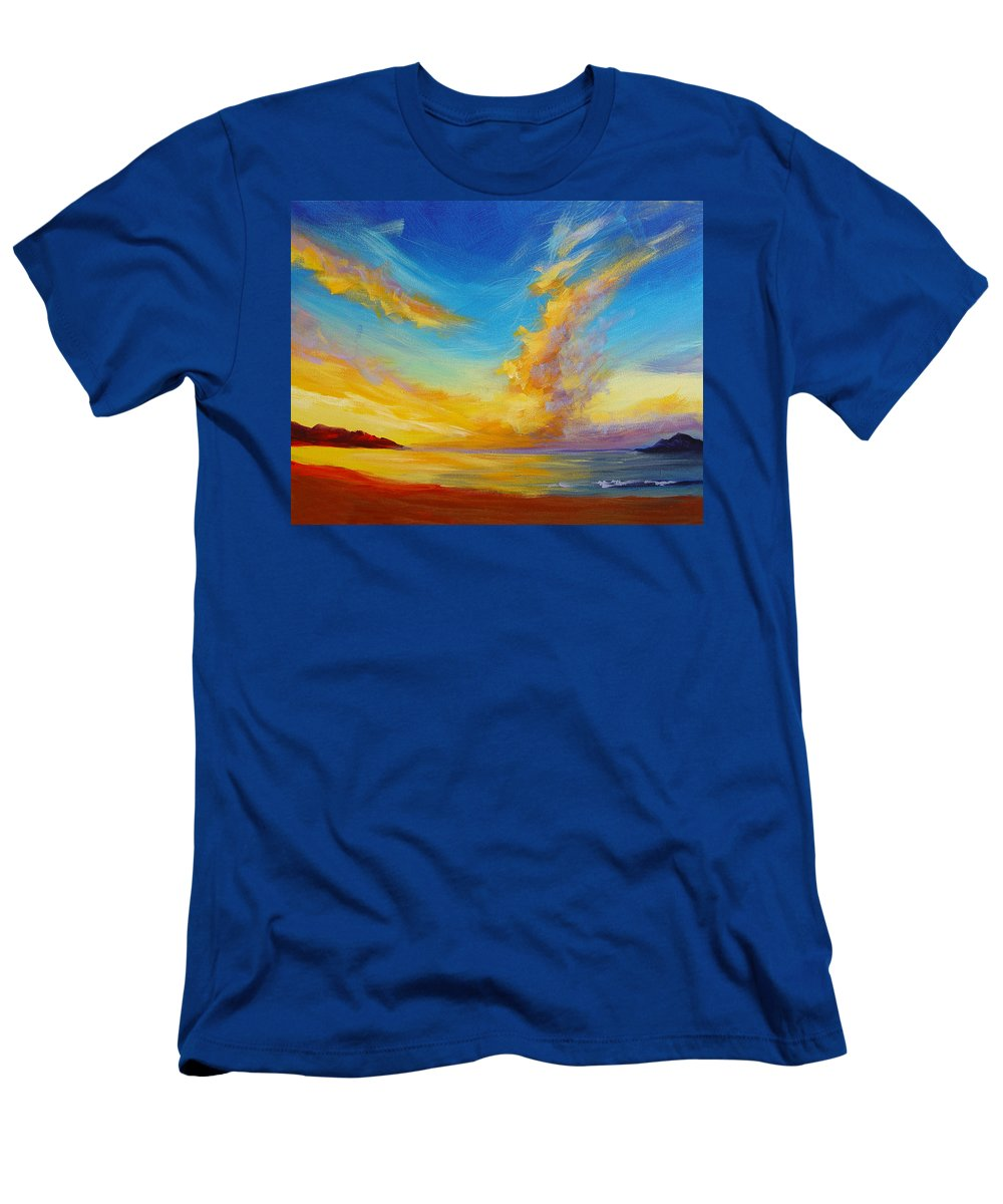 Sky Men's T-Shirt (Athletic Fit) featuring the painting Sunrise by Hanako Hawaii