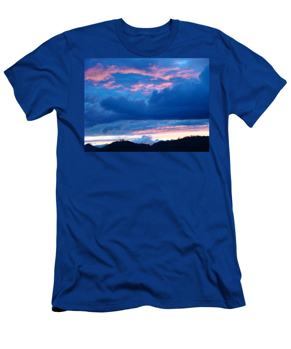 Sunset Men's T-Shirt (Athletic Fit) featuring the photograph Sunset Art Print Blue Twilight Clouds Pink Glowing Light Over Mountains by Baslee Troutman