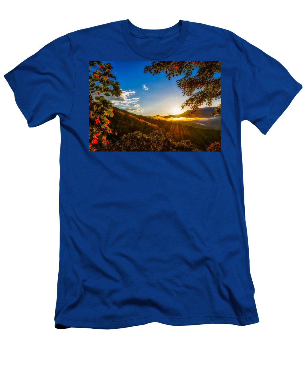 Nature Men's T-Shirt (Athletic Fit) featuring the photograph Sunset From The Blue Ridge Parkway by Jim Call