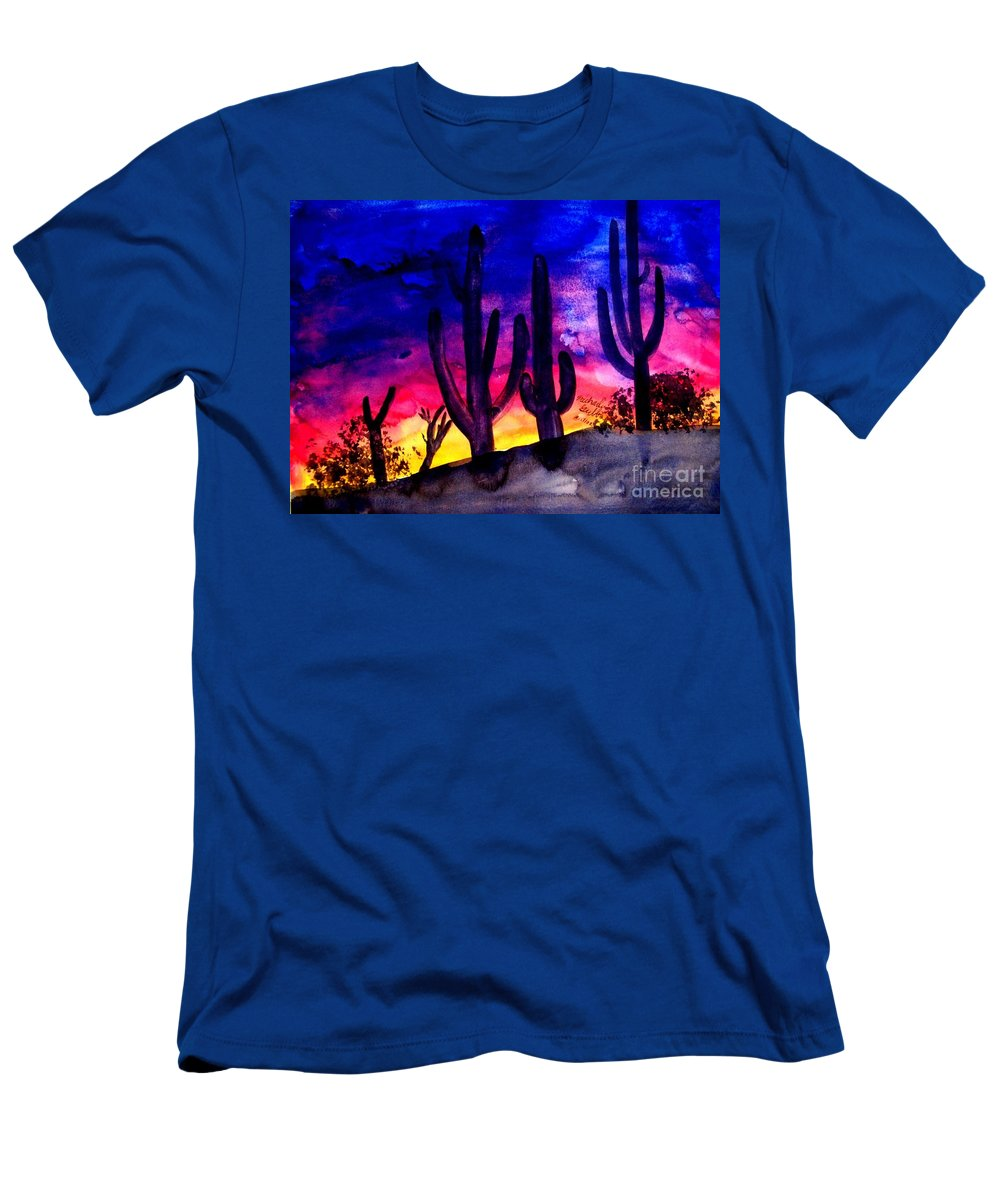 Colorful Men's T-Shirt (Athletic Fit) featuring the painting Sunset On Cactus by Michael Grubb