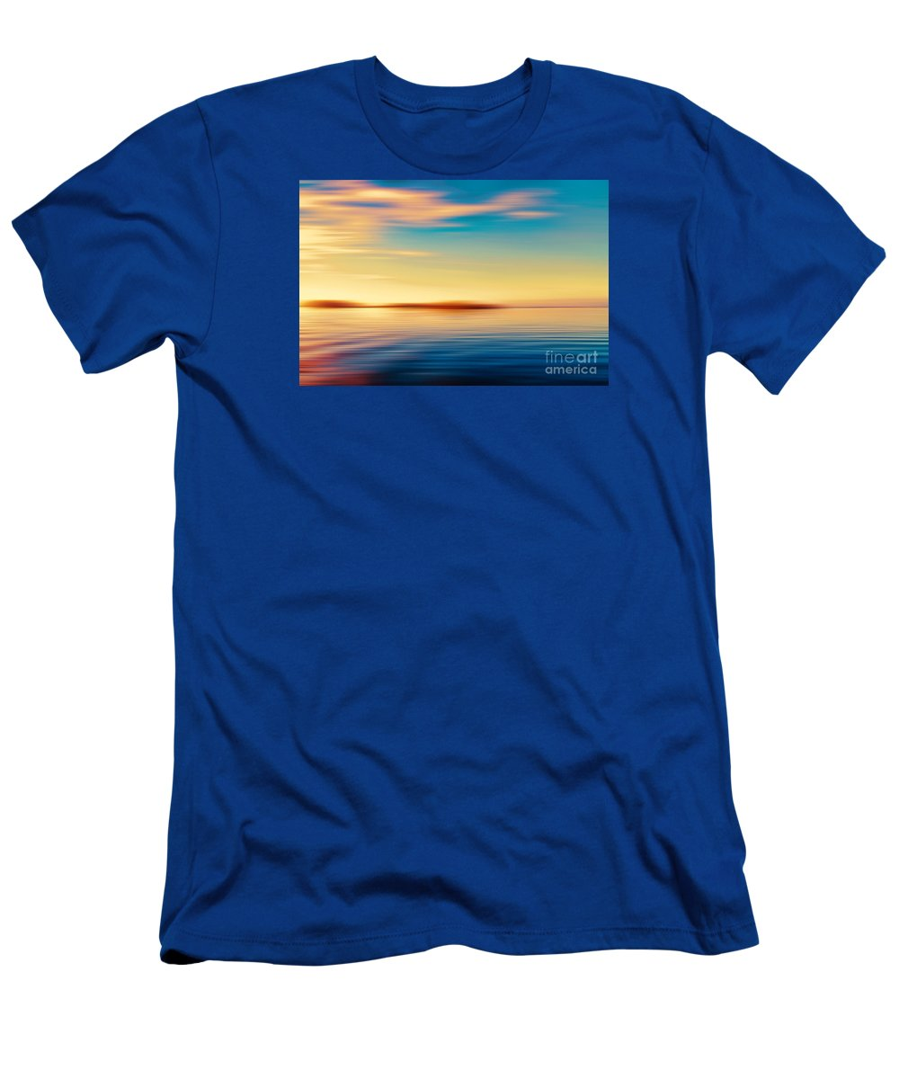 Coastline Men's T-Shirt (Athletic Fit) featuring the photograph Sunset Seascape Island by Jan Brons