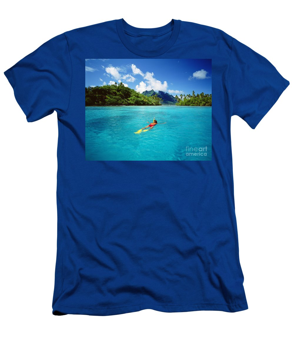 Above Men's T-Shirt (Athletic Fit) featuring the photograph Tahiti, Bora Bora by Ron Dahlquist - Printscapes
