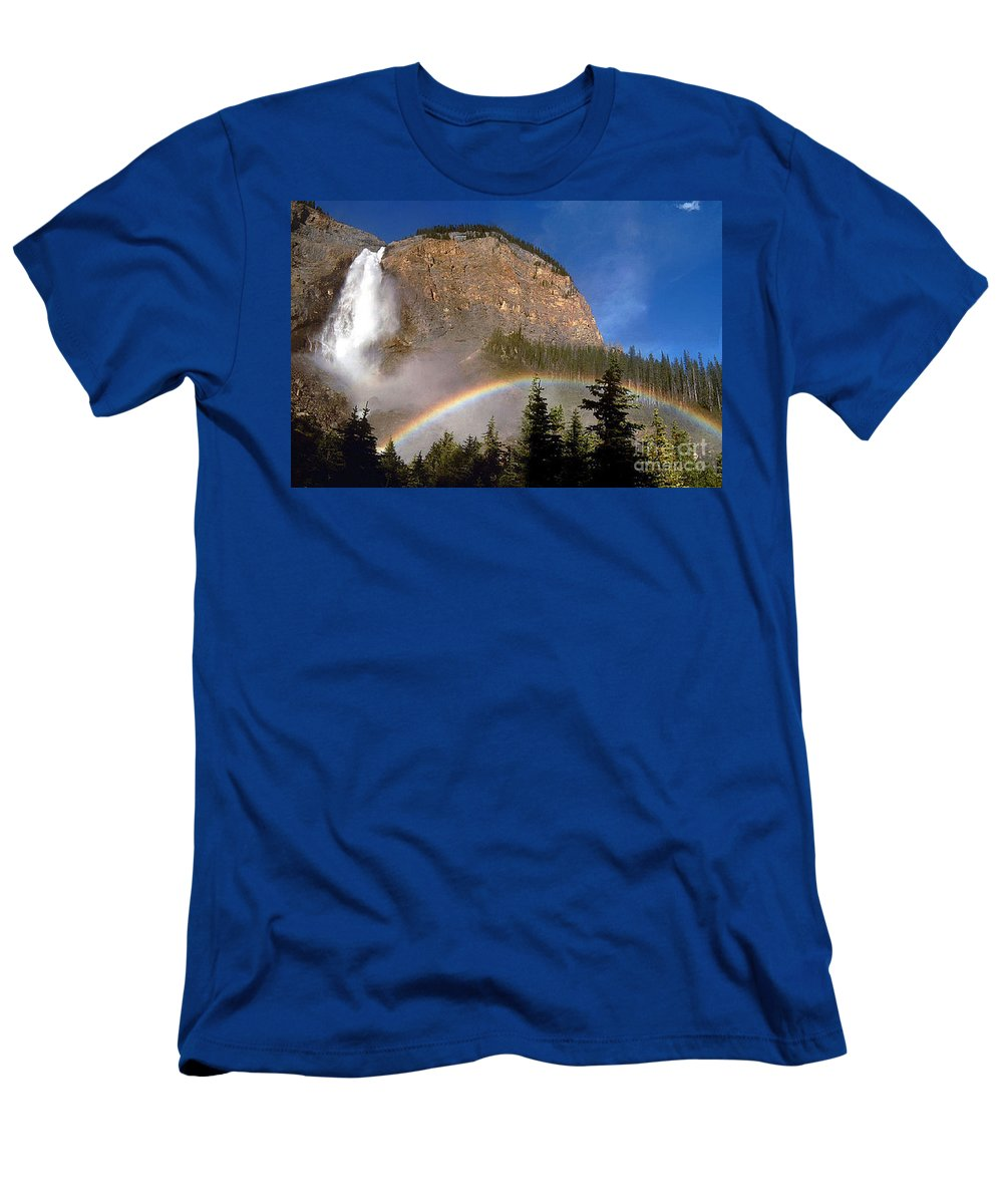Waterfall Men's T-Shirt (Athletic Fit) featuring the photograph Takakkaw Falls B C Canada  by Rod Jellison