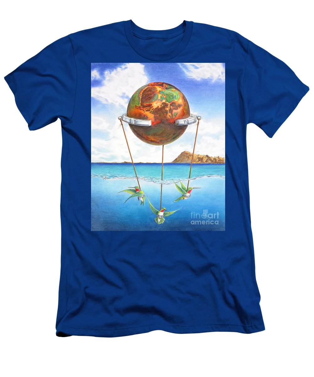 Surreal Men's T-Shirt (Athletic Fit) featuring the painting Tethered Sphere by Melissa A Benson