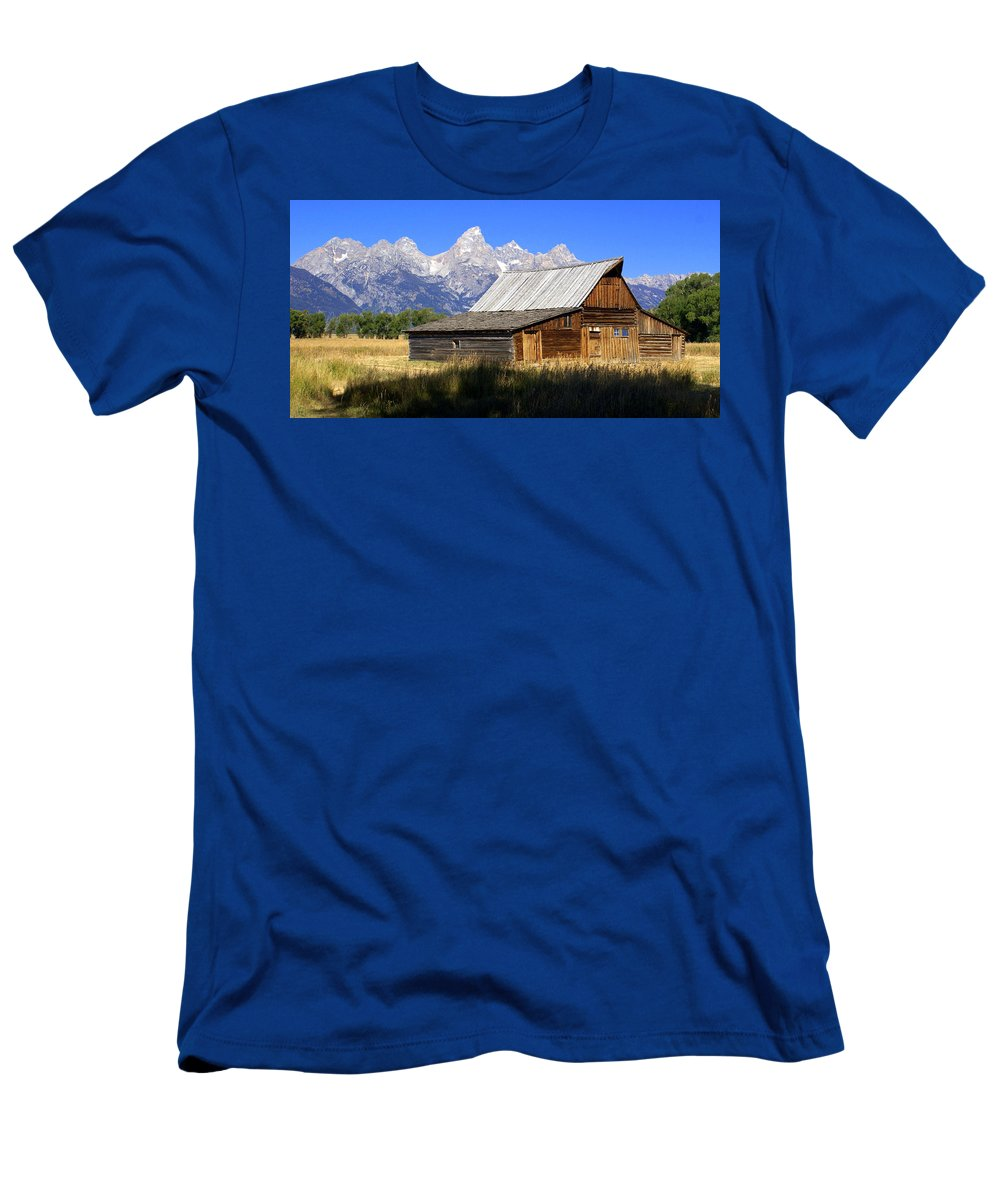 Grand Teton National Park Men's T-Shirt (Athletic Fit) featuring the photograph Teton Barn 5 by Marty Koch
