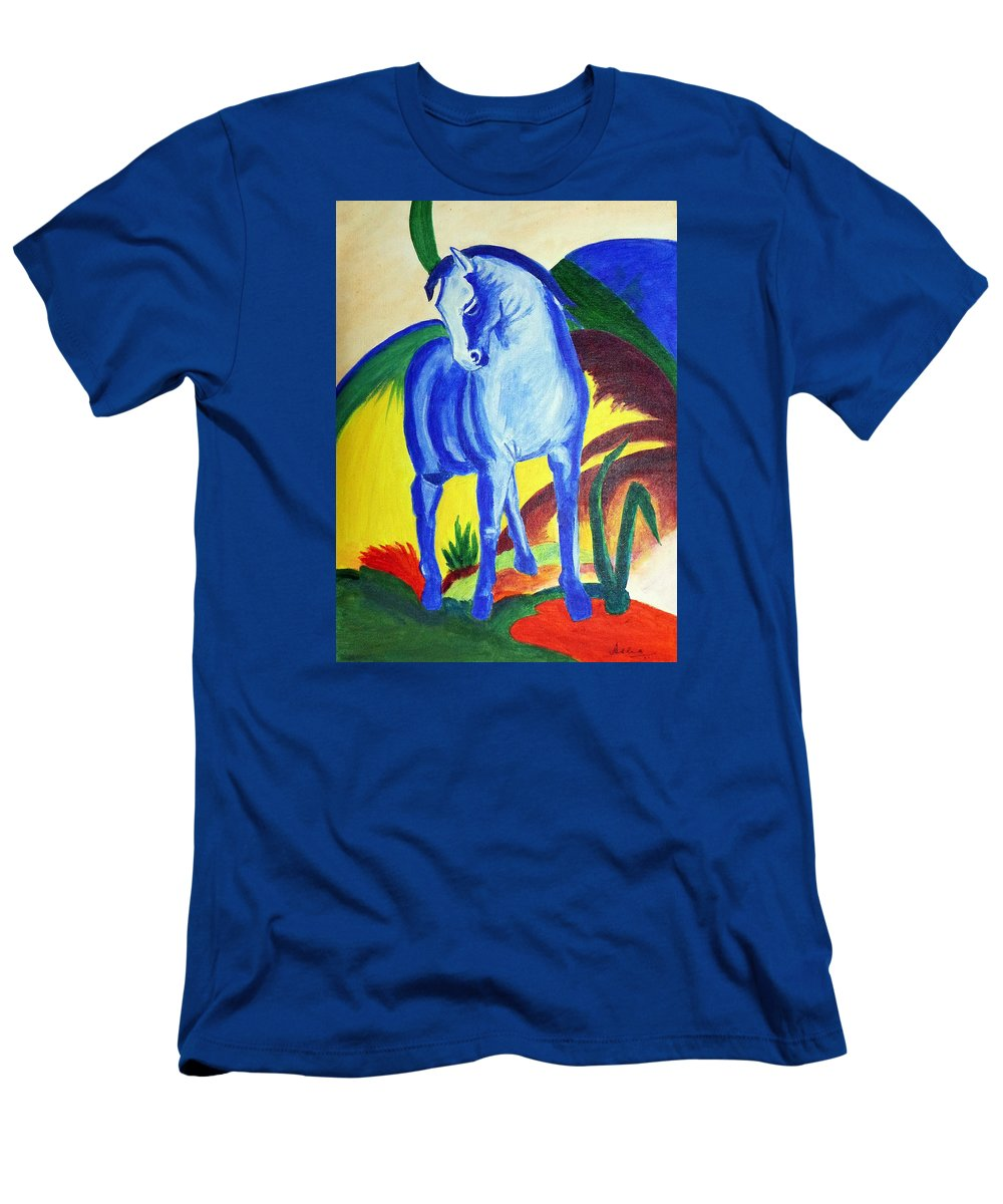 Horse Men's T-Shirt (Athletic Fit) featuring the painting The Blue Horse Franc Marz by Asha Sudhaker Shenoy