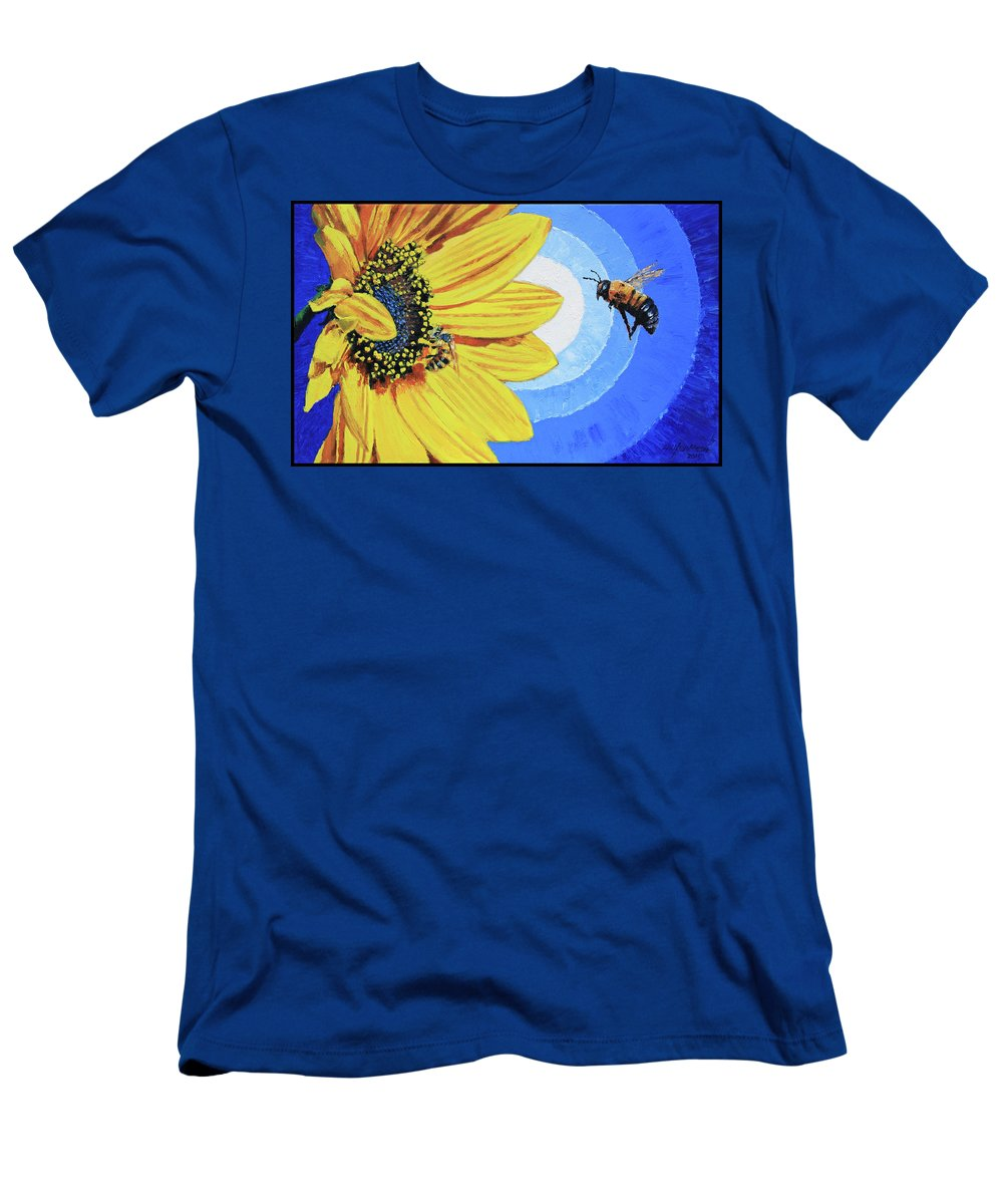 Bee T-Shirt featuring the painting The Call of the Sunflower by John Lautermilch