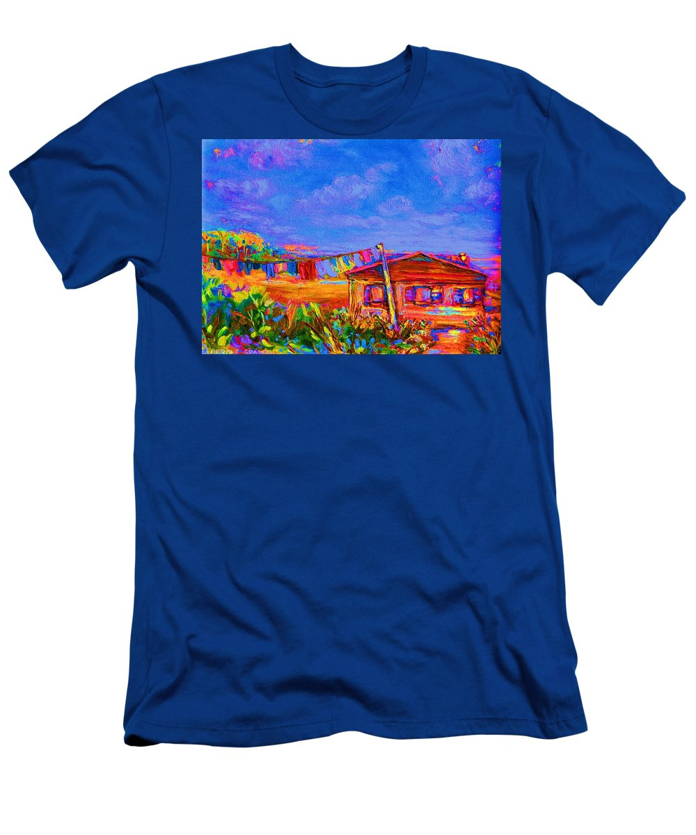 Clothesline Scenes Men's T-Shirt (Athletic Fit) featuring the painting The Clothesline by Carole Spandau