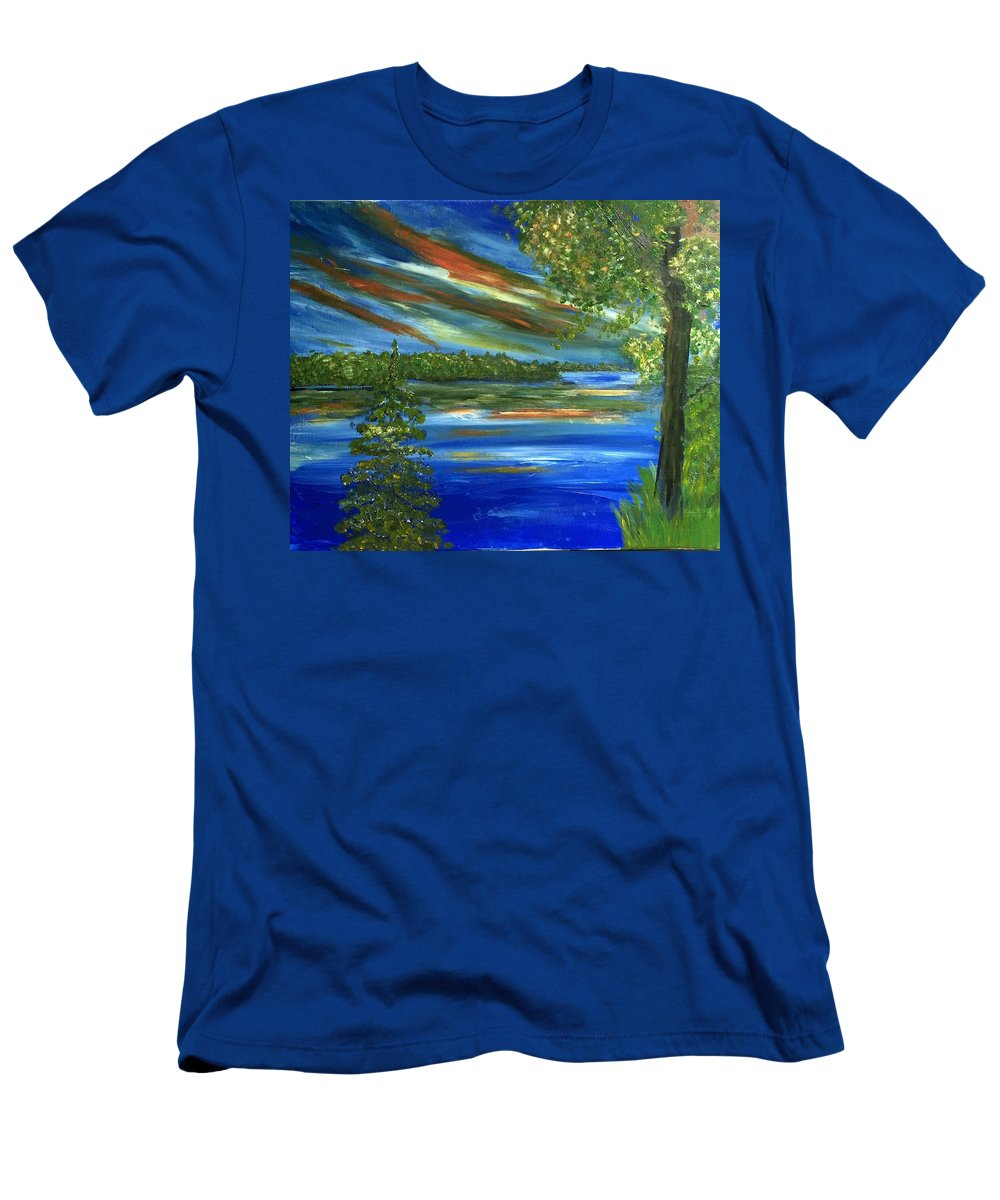 #lake Men's T-Shirt (Athletic Fit) featuring the painting The Cove by Linda Waidelich