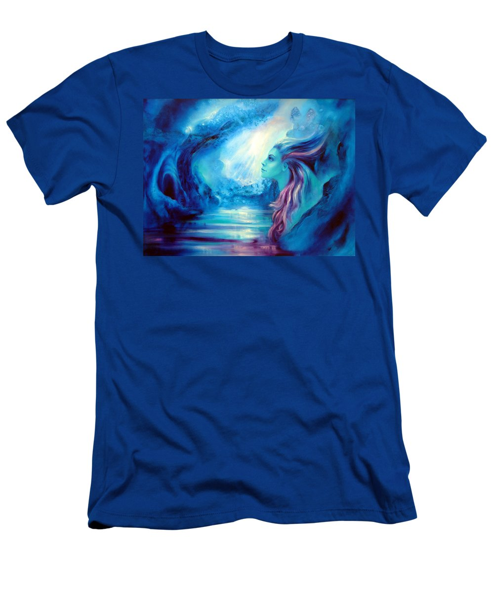 Blue Paintings Men's T-Shirt (Athletic Fit) featuring the painting The Dream by C J Elsip