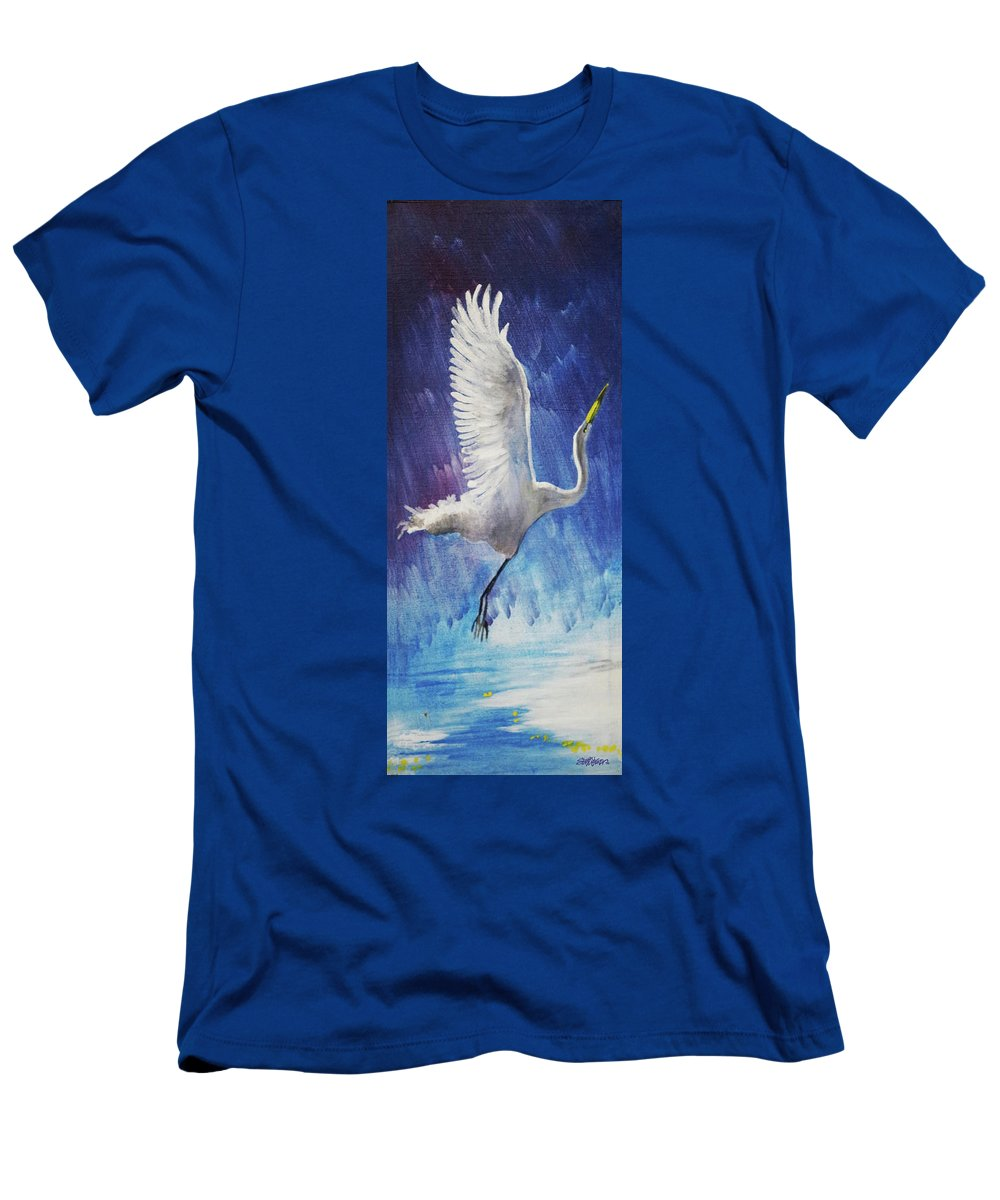 Egret T-Shirt featuring the painting The Egret by Seth Weaver