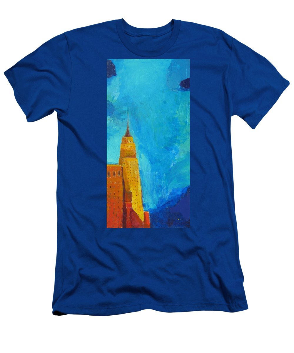 Abstract Cityscape Men's T-Shirt (Athletic Fit) featuring the painting The Empire State by Habib Ayat