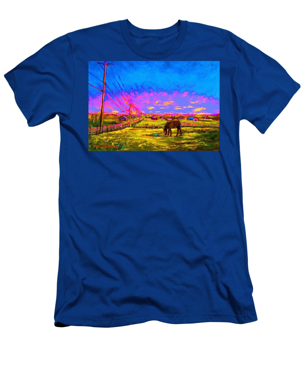 Western Art Men's T-Shirt (Athletic Fit) featuring the painting The Golden Meadow by Carole Spandau