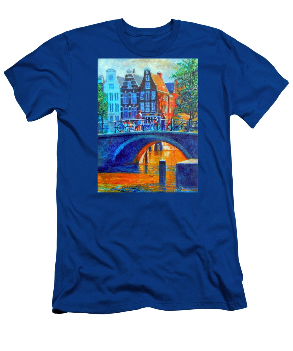 Amsterdam Men's T-Shirt (Athletic Fit) featuring the painting The Magic Of Amsterdam by Michael Durst