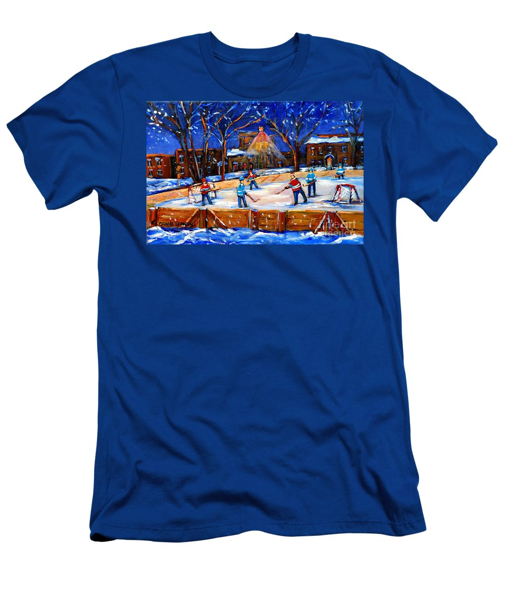 Montreal Men's T-Shirt (Athletic Fit) featuring the painting The Neighborhood Hockey Rink by Carole Spandau