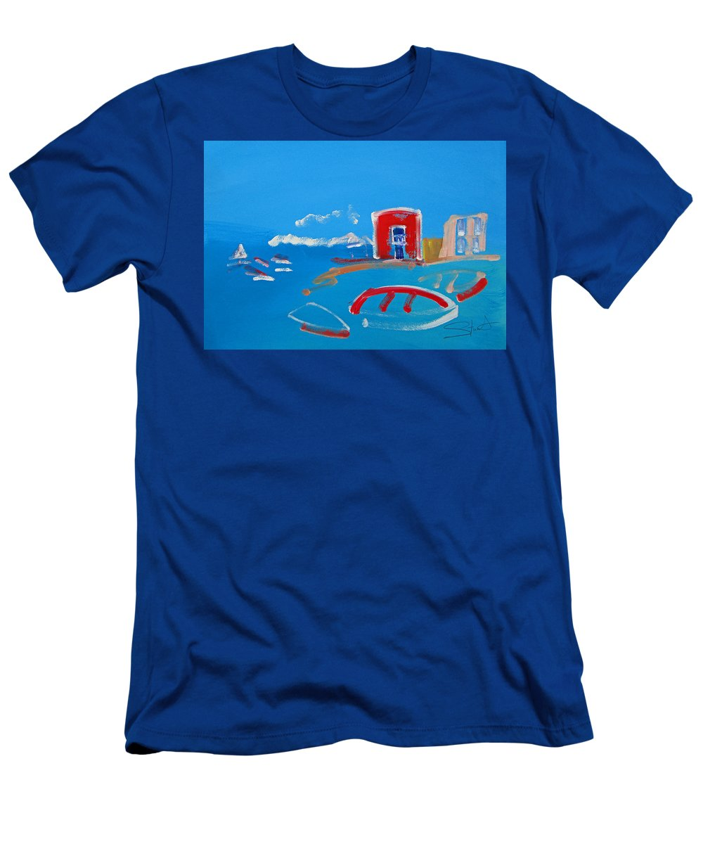 Puerto Men's T-Shirt (Athletic Fit) featuring the painting The Red House La Casa Roja by Charles Stuart