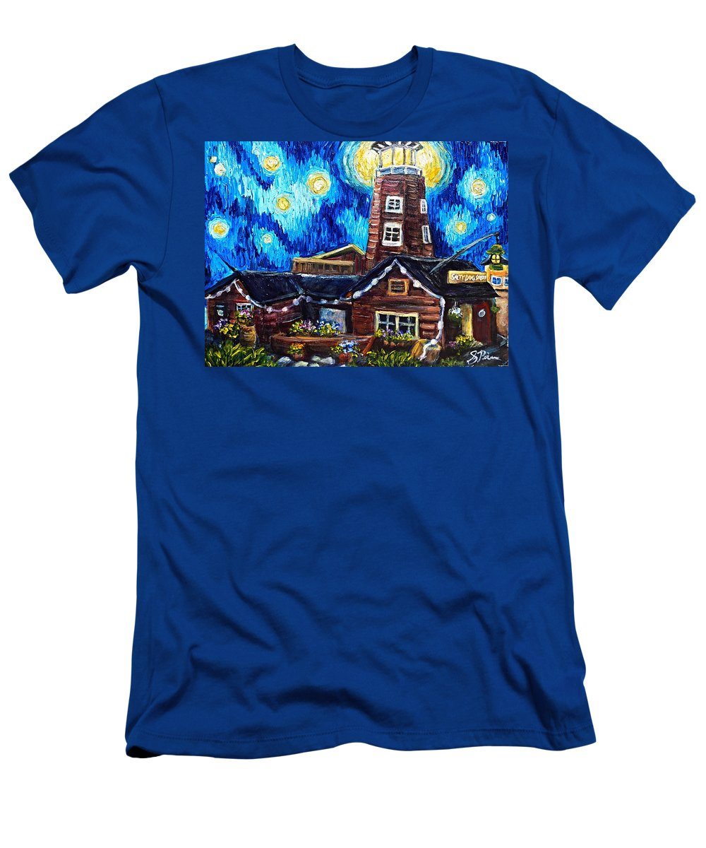#homer #saltydog Men's T-Shirt (Athletic Fit) featuring the painting The Salty Dog Saloon by Sebastian Pierre