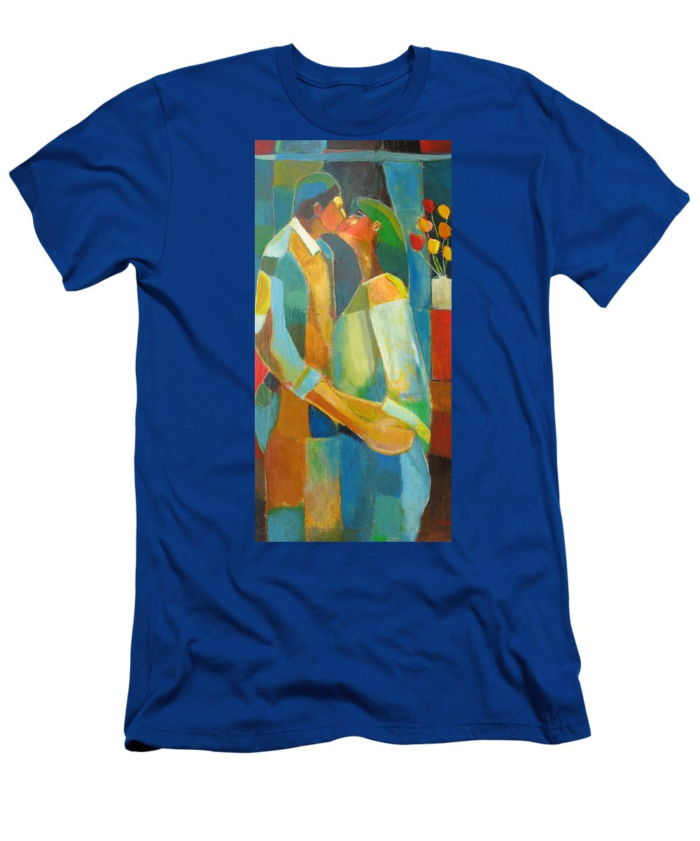 Love Abstract Men's T-Shirt (Athletic Fit) featuring the painting The Sweet Kiss by Habib Ayat