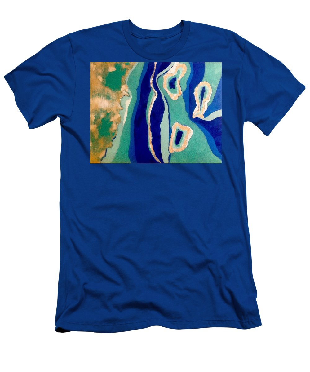 Belize Men's T-Shirt (Athletic Fit) featuring the painting The Three Atolls by Jennifer Whitworth