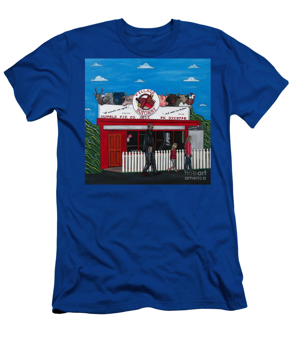 Buildings T-Shirt featuring the painting The Village by Sandra Marie Adams