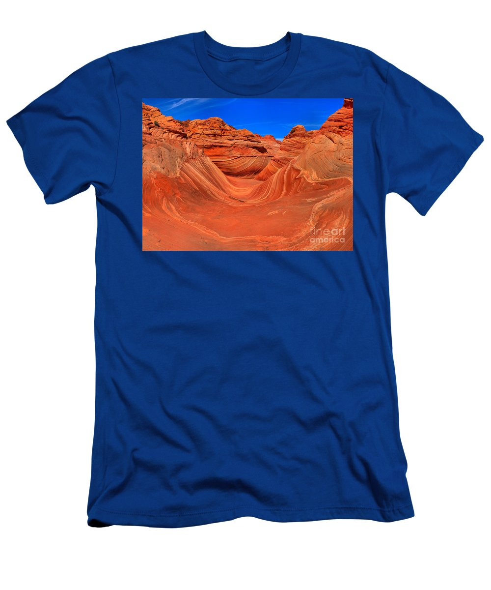 Men's T-Shirt (Athletic Fit) featuring the photograph The Wave Panorama - X by Adam Jewell