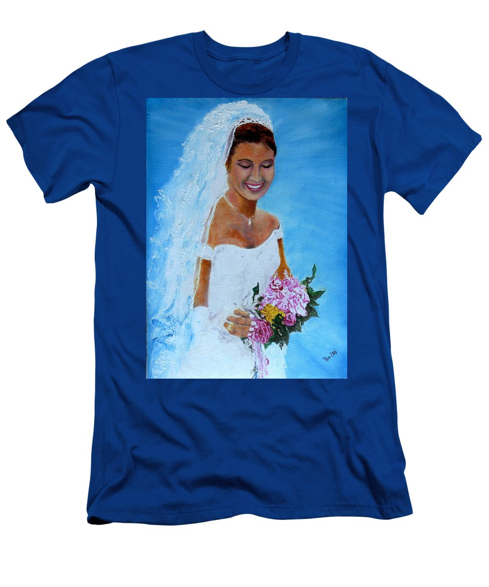 Wedding Men's T-Shirt (Athletic Fit) featuring the painting the wedding day of my daughter Daniela by Helmut Rottler