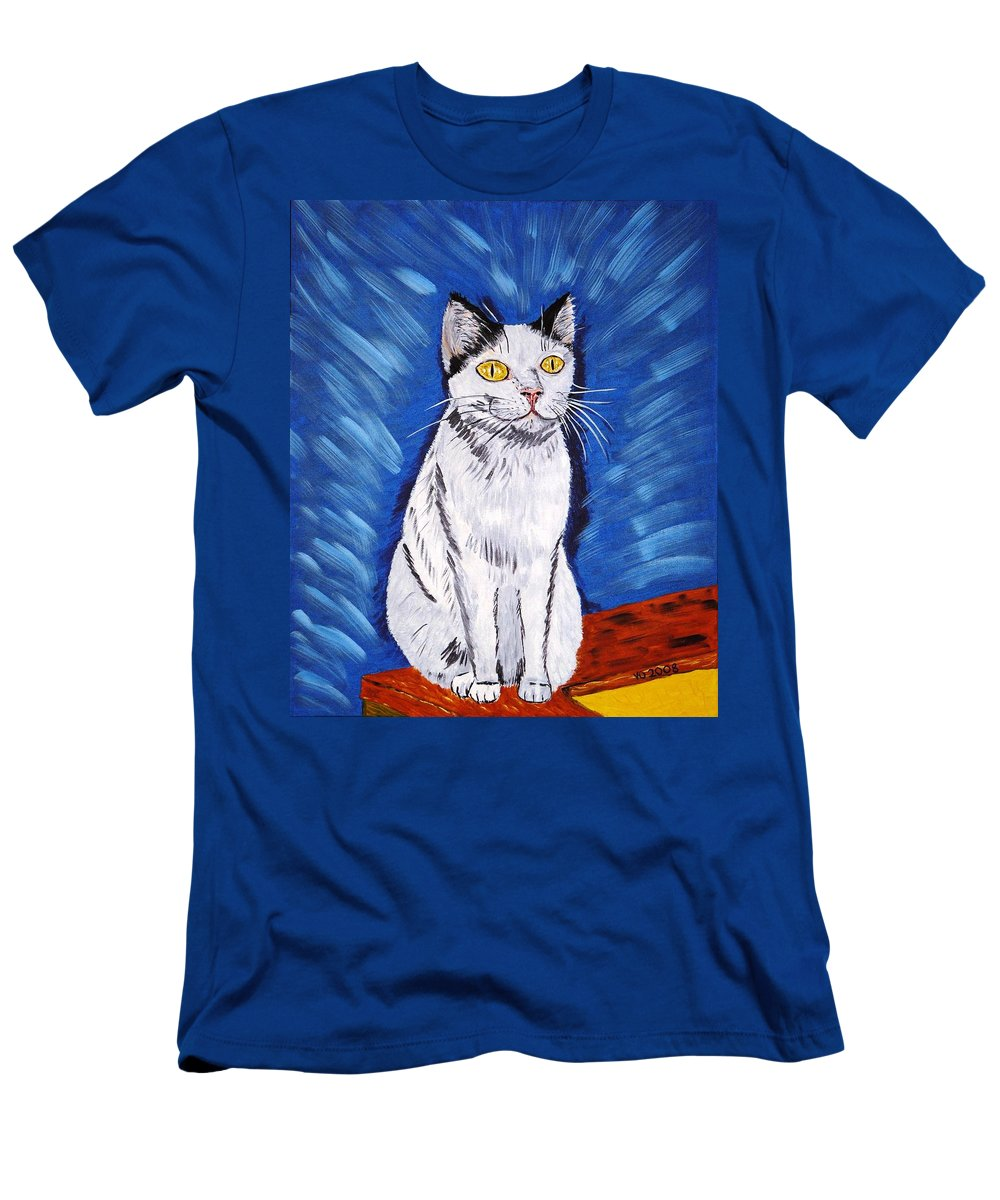 Cat Men's T-Shirt (Athletic Fit) featuring the painting There Is A Bird by Valerie Ornstein