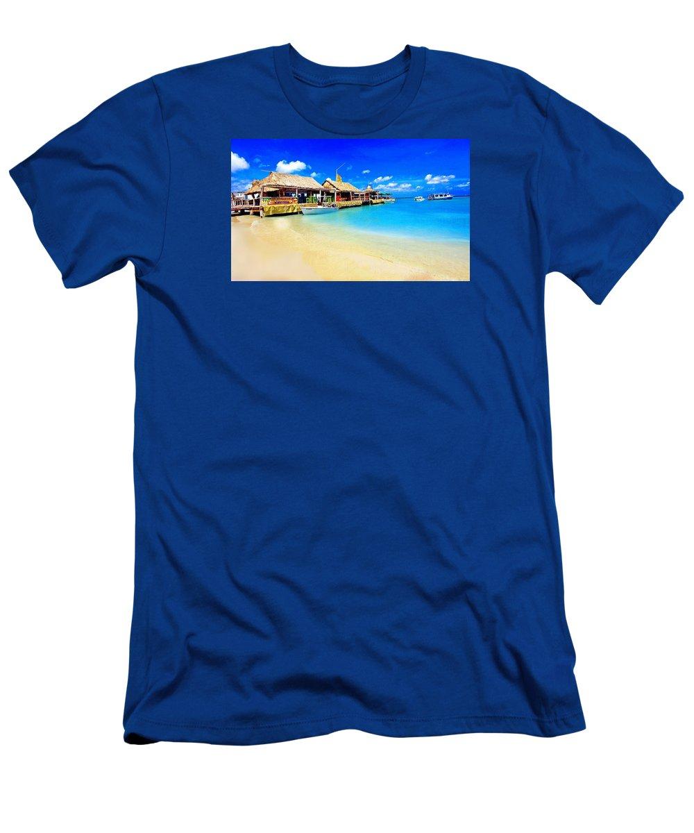 Aruba Men's T-Shirt (Athletic Fit) featuring the photograph Tiki Bar In Aruba by Larry Mccrea