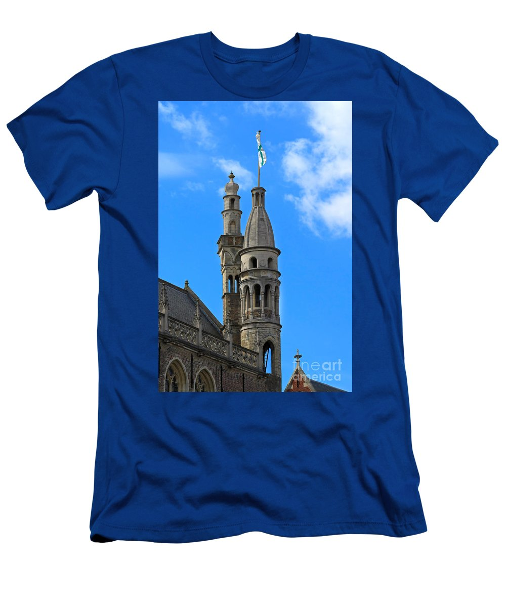 De Burg Men's T-Shirt (Athletic Fit) featuring the photograph Towers Of The Town Hall In Bruges Belgium by Louise Heusinkveld